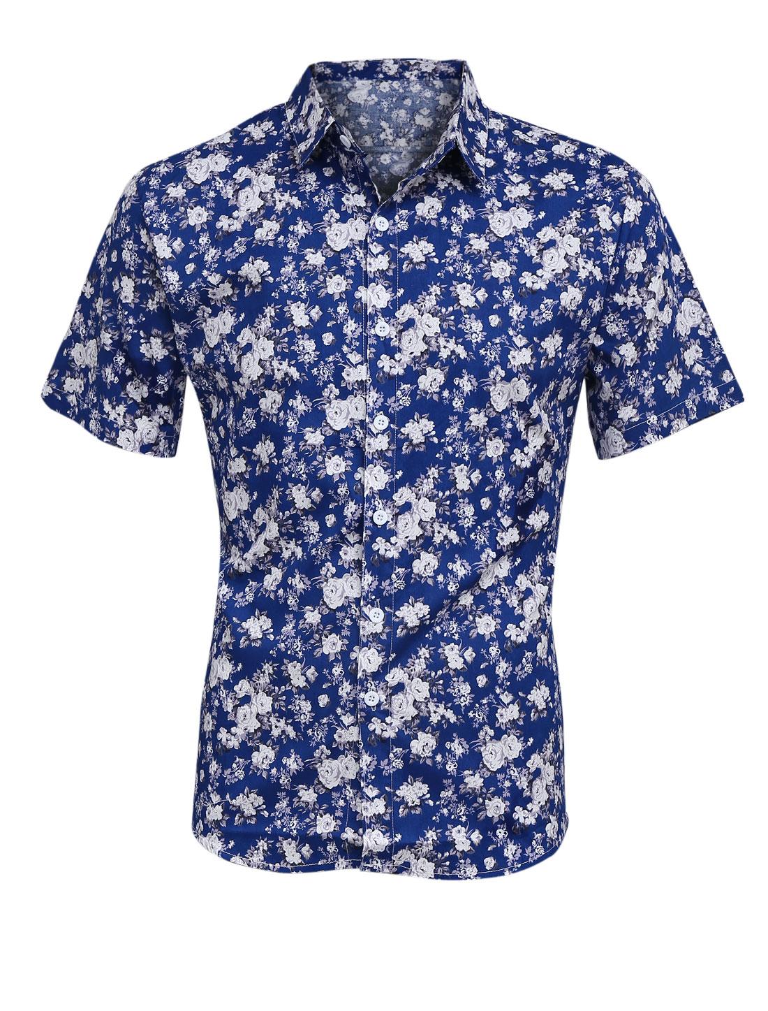 Men Point Collar Button Closure Floral Prints Shirt Royal Blue M