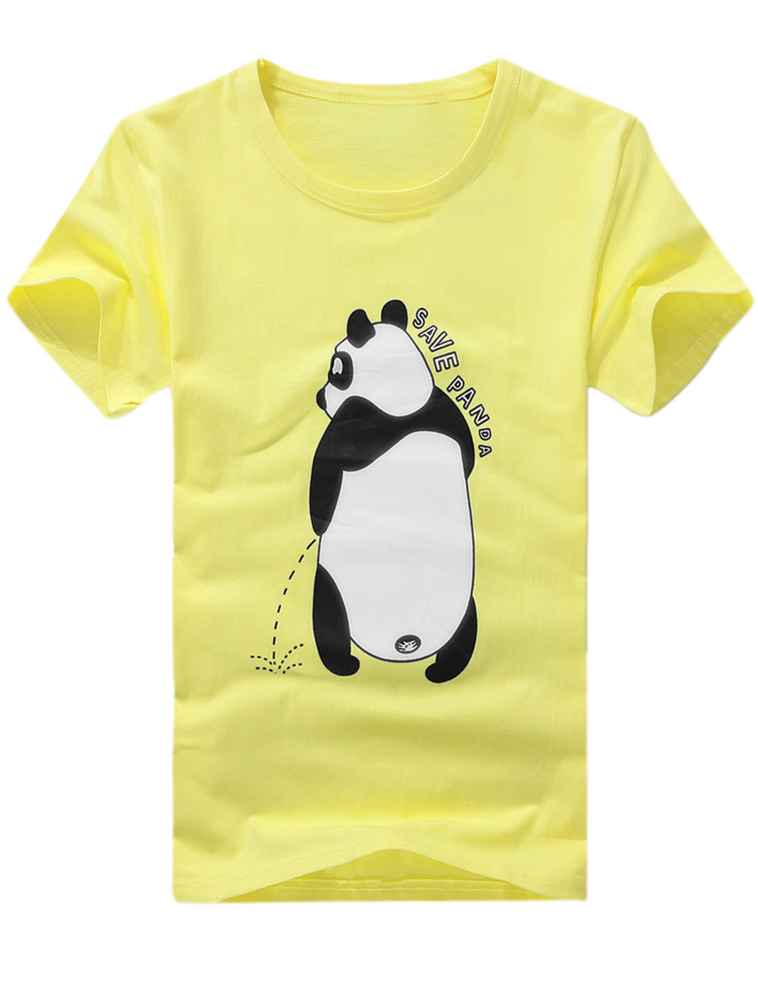 Men Personalized Round Neck Panda Printed T-Shirt Light Yellow M