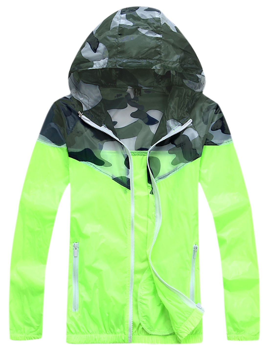 Men Long Sleeves Camouflage Pattern Thin Hooded Jacket w Pocket Lime Green M