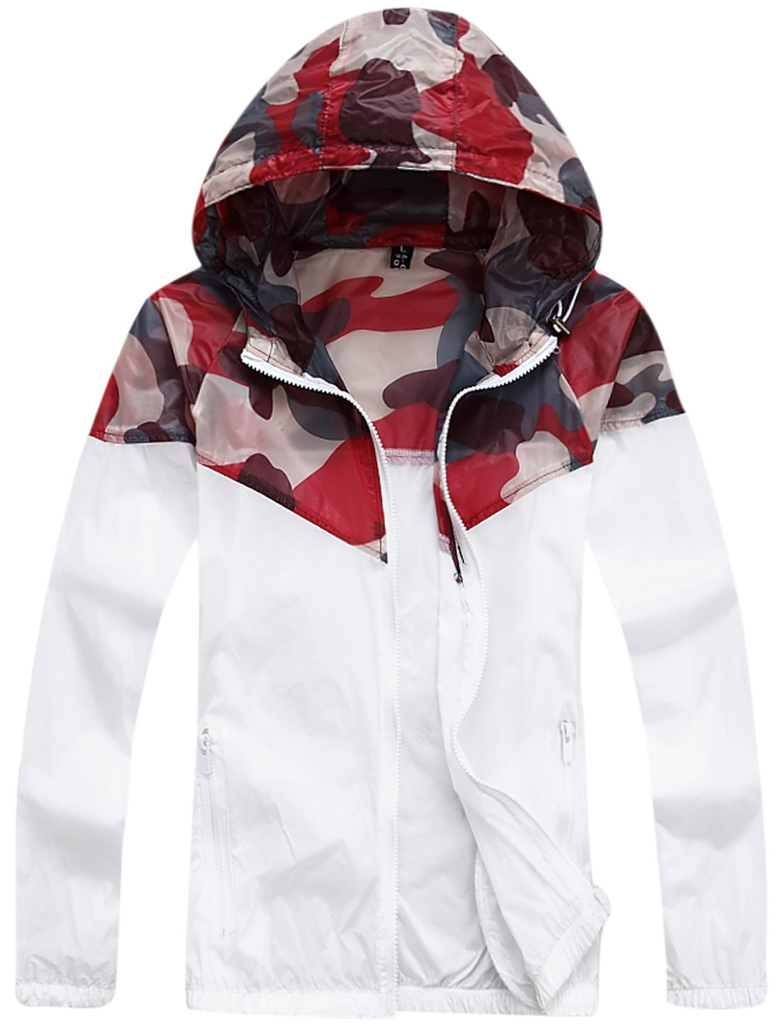 Men Zip Up Camouflage Pattern Thin Hooded Jacket w Pocket White M