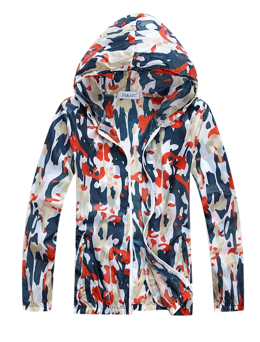 Men Drawstring Hooded Zip Up Camouflage Prints Thin Jacket Orange M