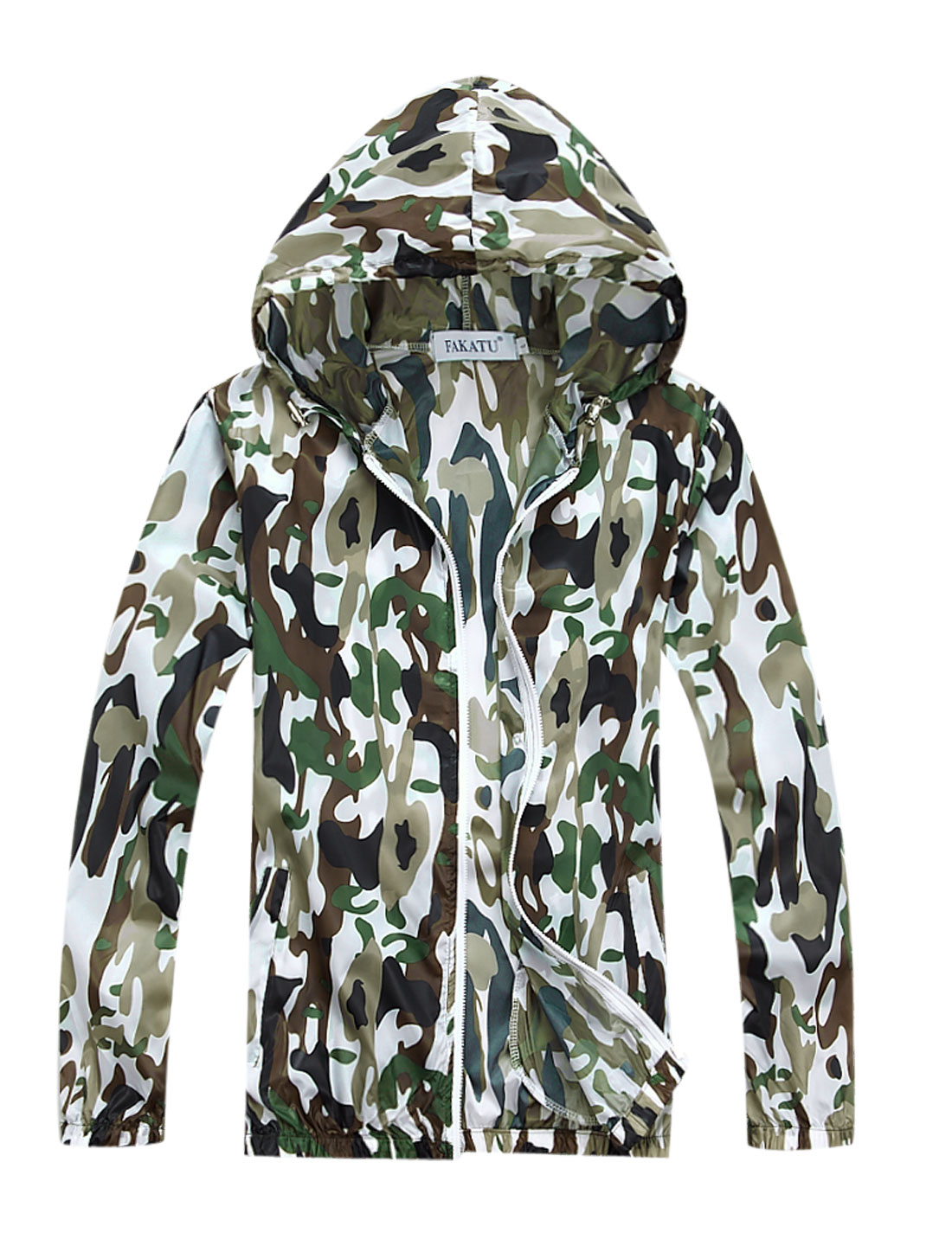 Men Drawcord Hooded Zip Up Camouflage Prints Thin Jacket Army Green M