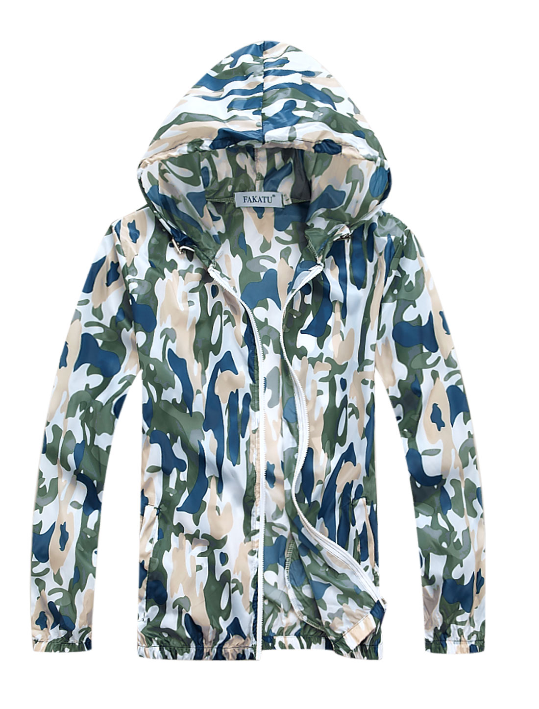 Men Zipper Closure Camouflage Prints Thin Jacket Blue M