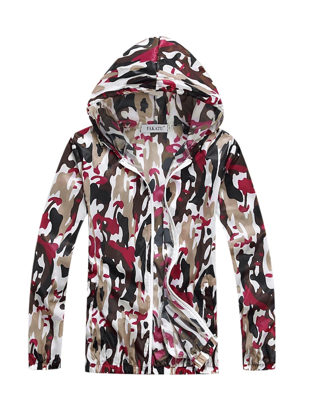 Men Drawstring Zipper Closure Camouflage Prints Thin Jacket Fuchsia M