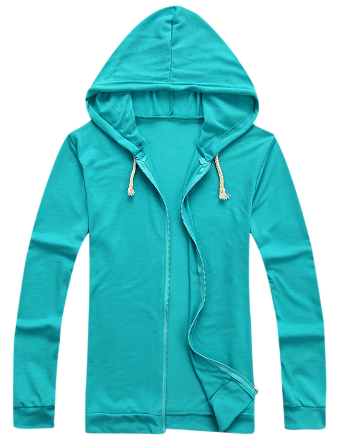 Men Zipper Fastening Long Sleeves Cozy Fit Thin Hooded Jacket Turquoise M