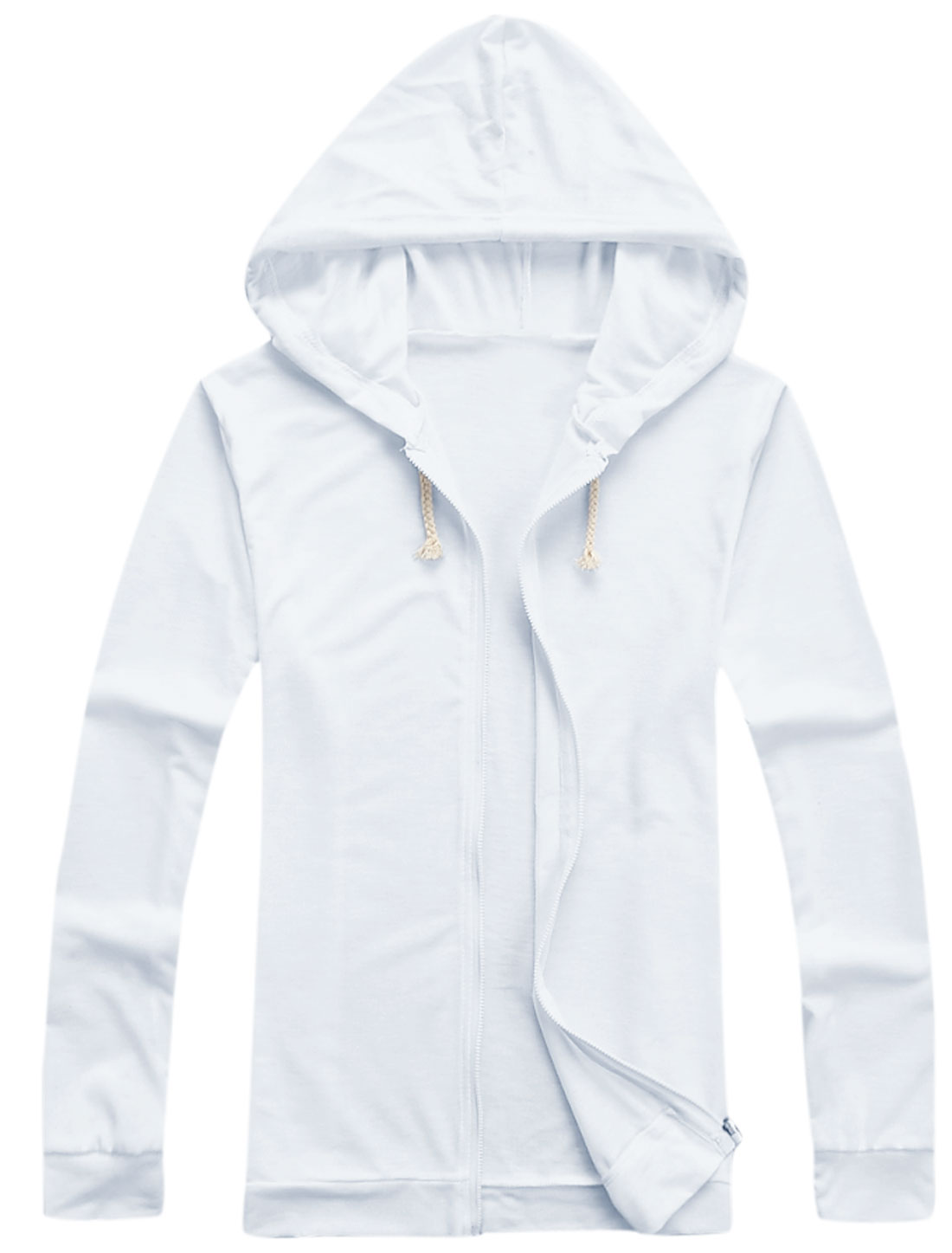 Men Zipper Fastening Pure Design Cozy Fit Thin Hooded Jacket White M