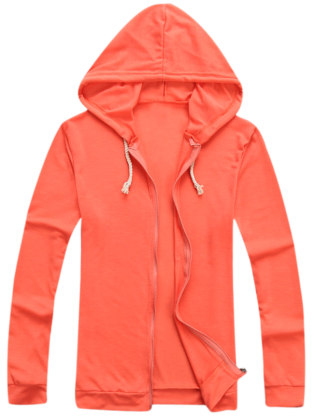 Men Zip Up Front Long Sleeves Cozy Fit Thin Hooded Jacket Orange M