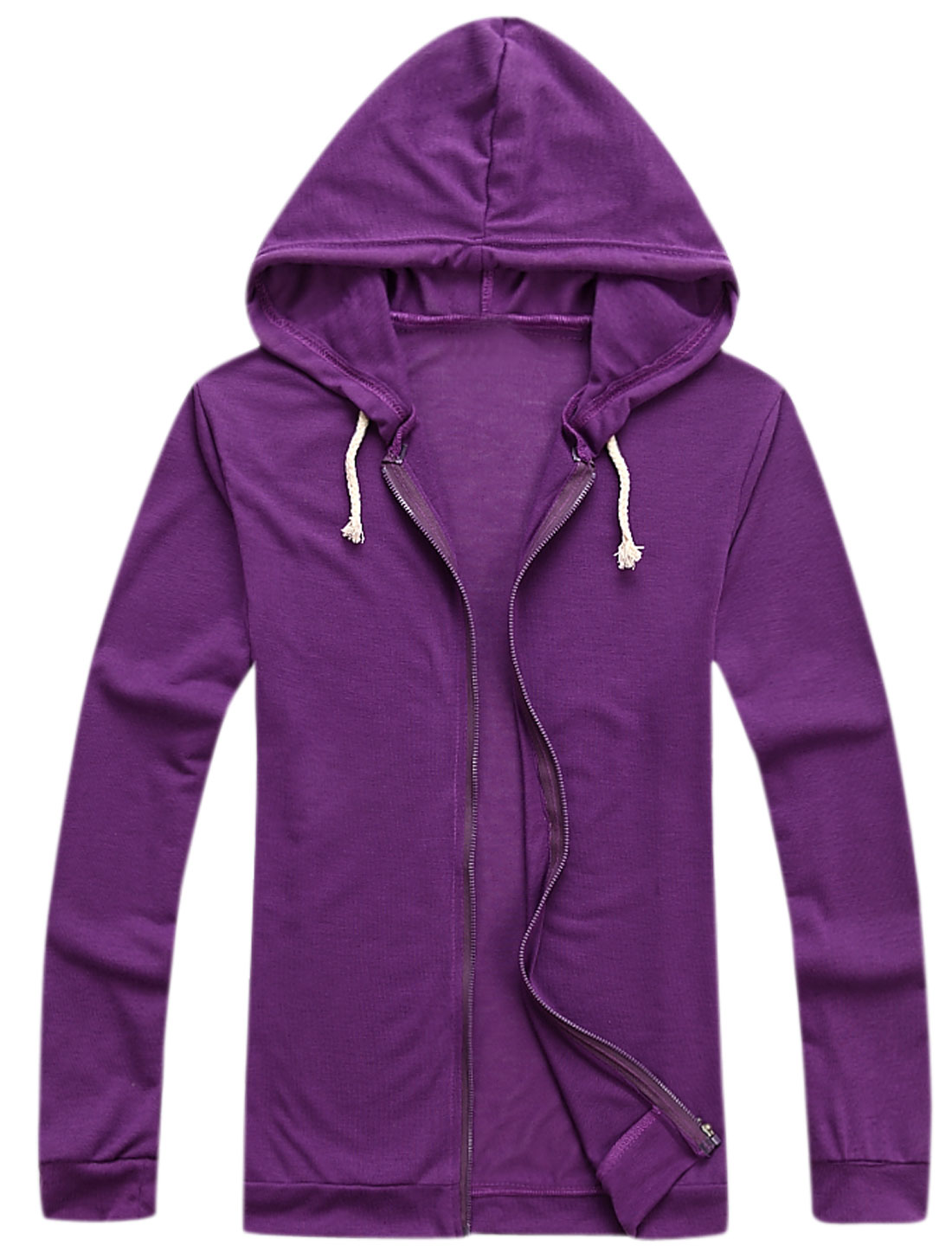 Men Long Sleeves Drawcord Design Cozy Fit Thin Hooded Jacket Purple M