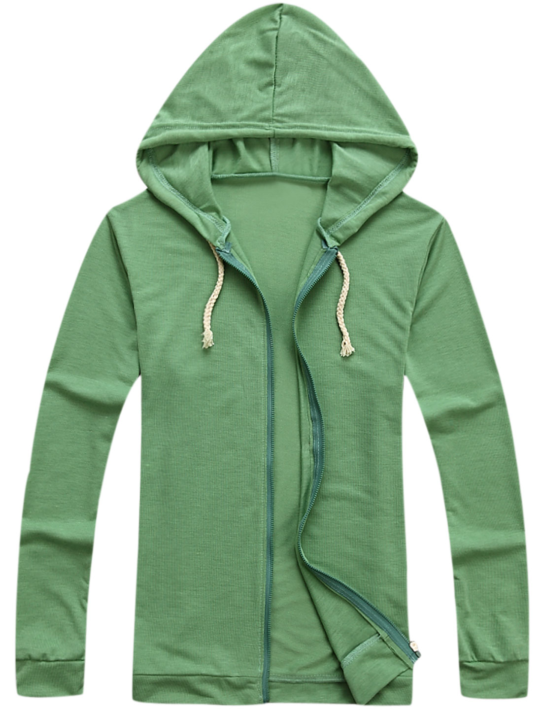 Long-Sleeved Drawstring Design Soft Fashion Thin Hoodie for Men Green M