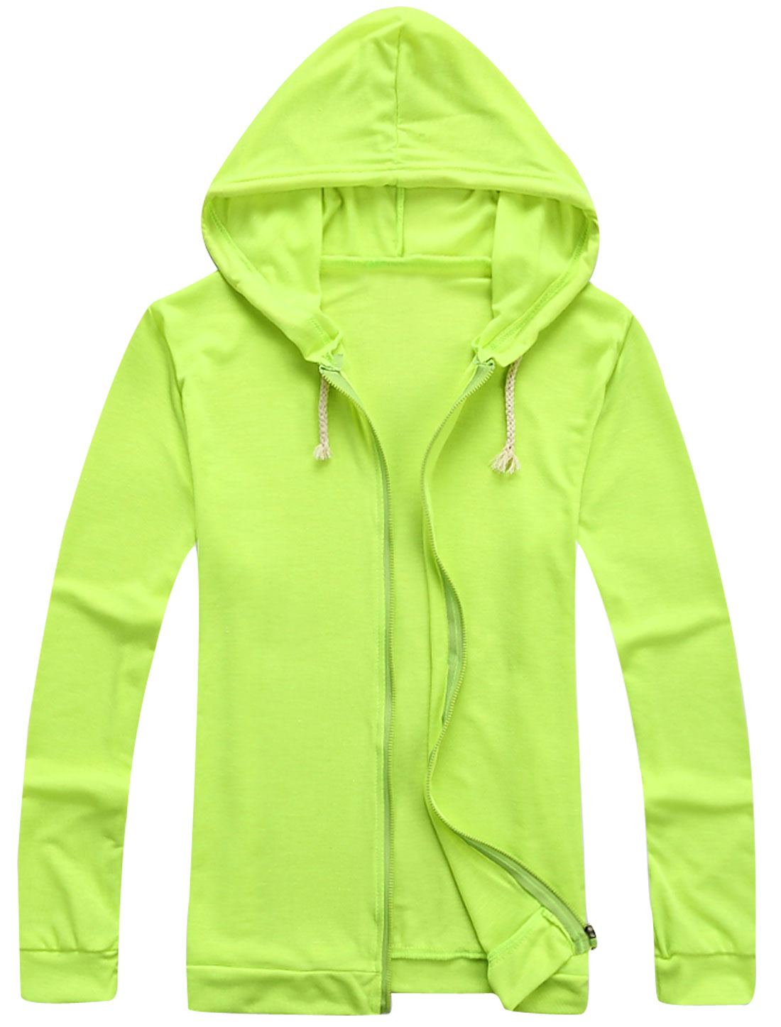 Long-Sleeved Full Zip Soft Fashion Thin Hoodie for Men Lime Yellow M
