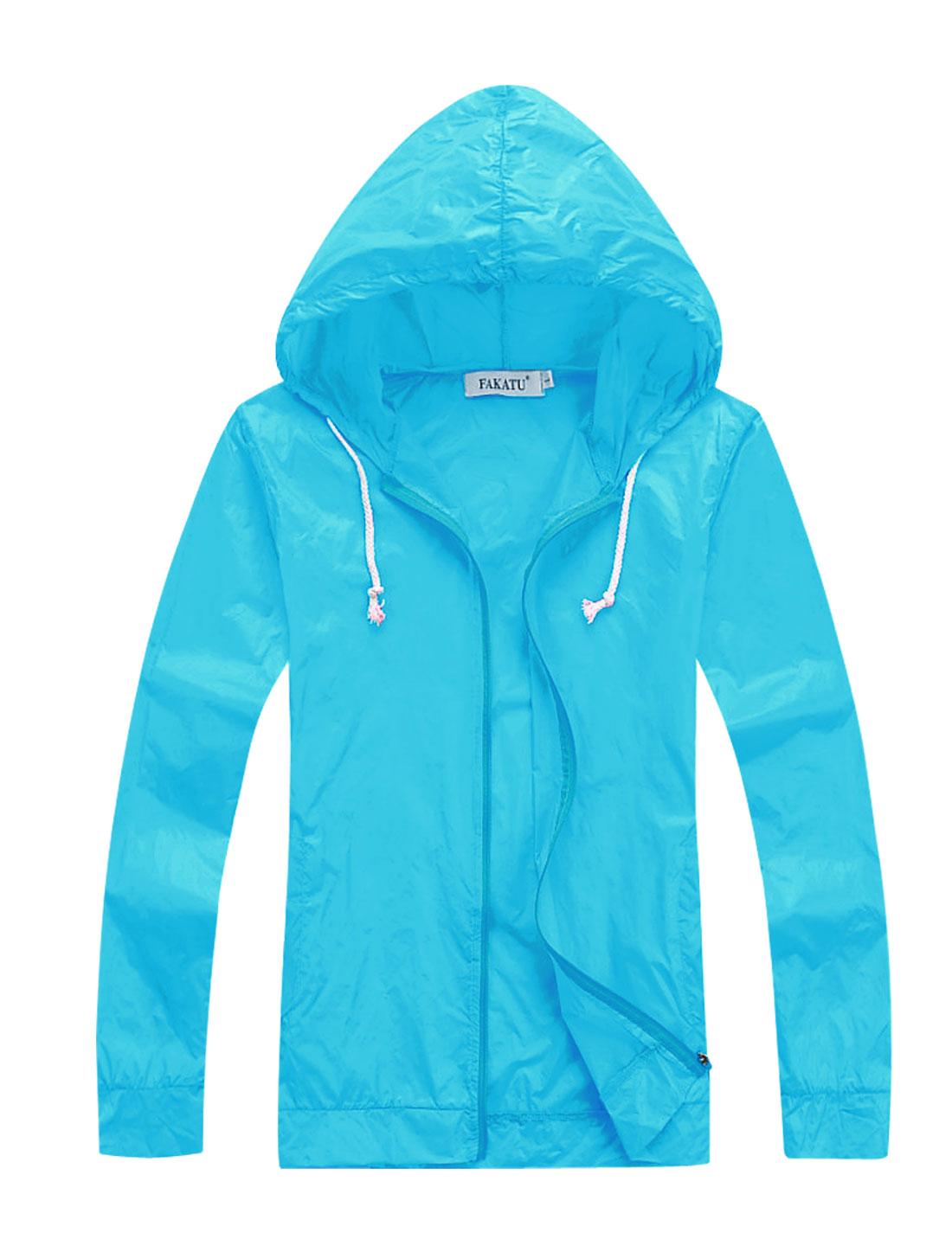 Men's Semi Sheer Front Pockets Zip Up Hoodie Jacket Blue M