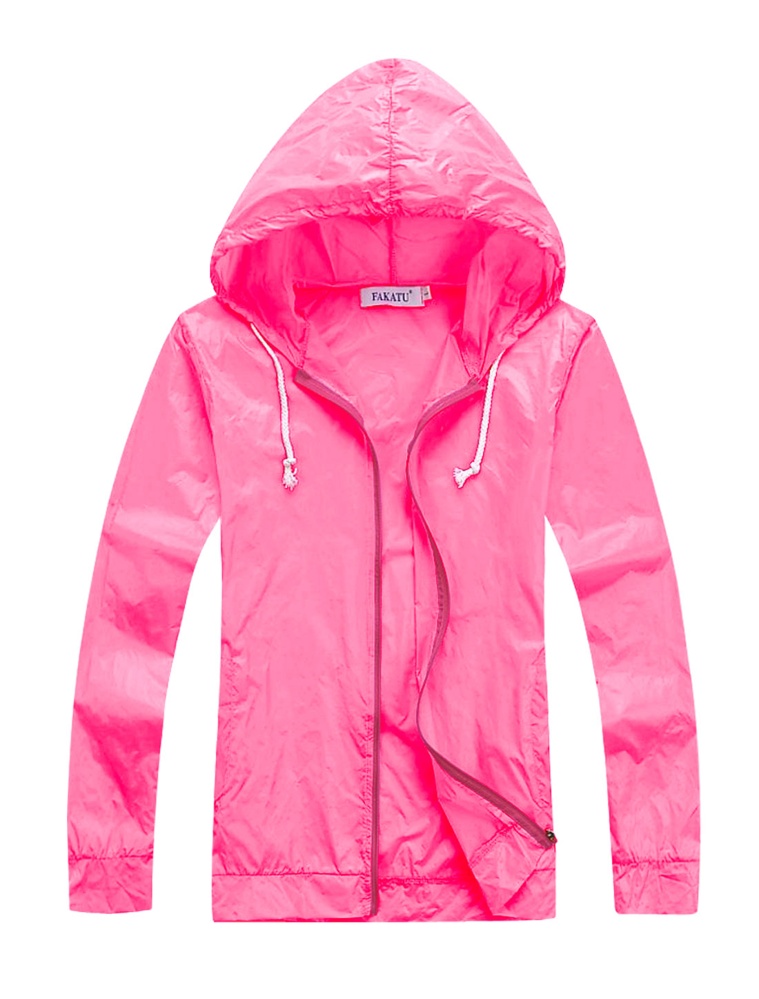 Men's Zip Up Sun-proof Front Pocket Pull String Hoodie Fuchsia M