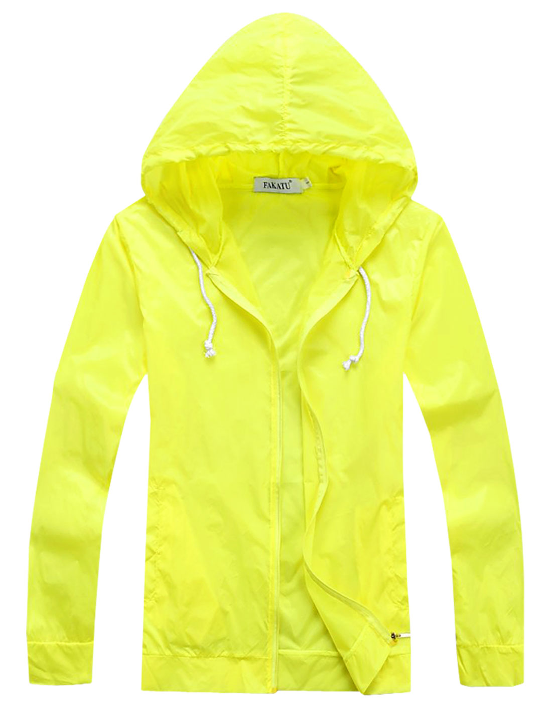 Man's Zipper Closure Sun-proof Long Sleeve Hoodie Jacket Yellow M