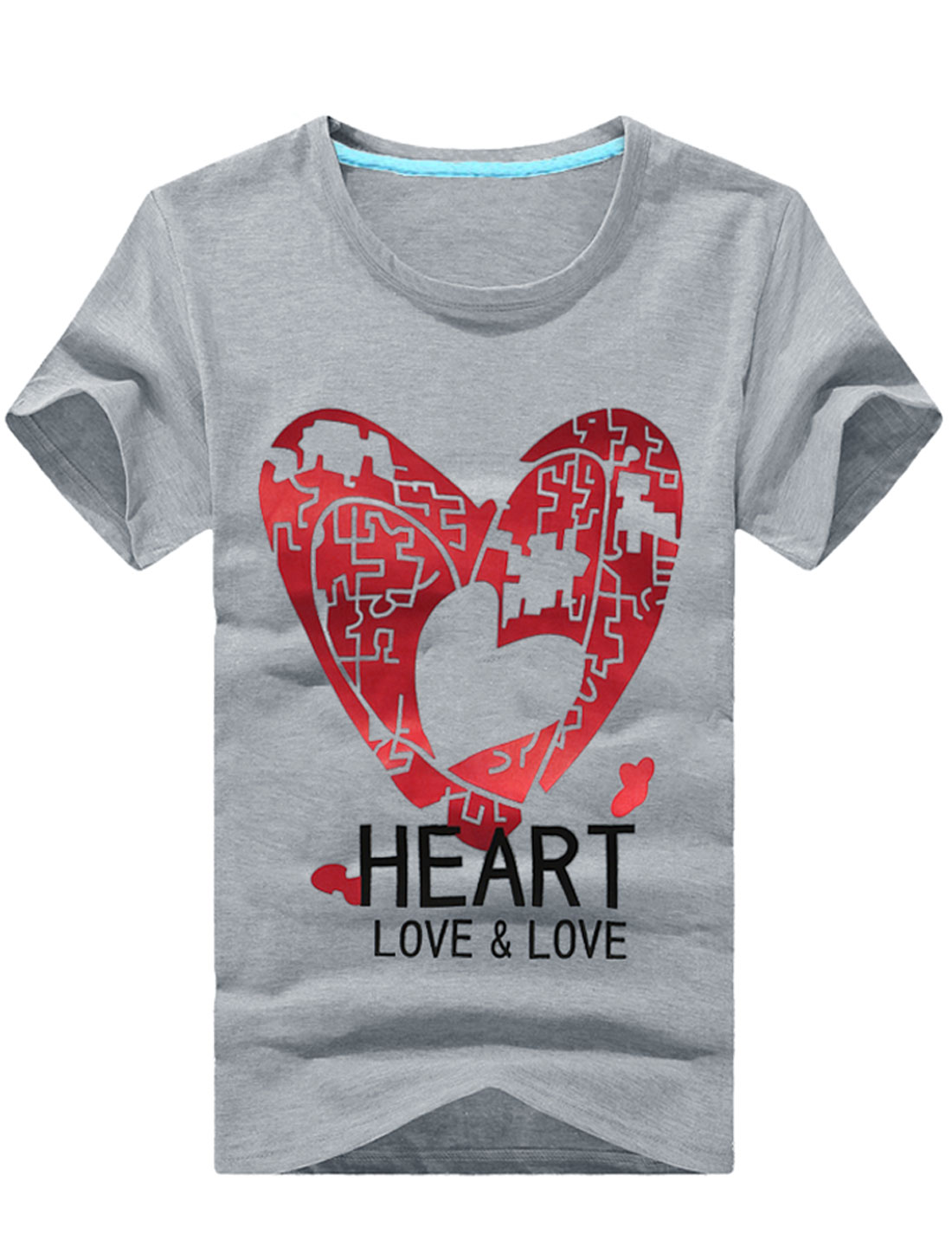 Men Heart Printed Short Sleeve Pullover Leisure T-Shirt Light Gray M