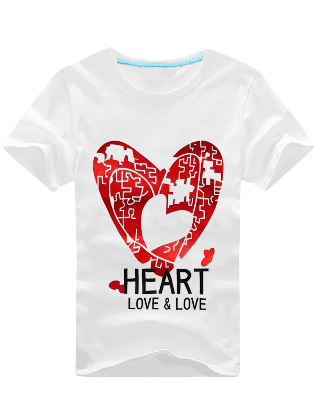 Men Heart Printed Short Sleeve Letters Printed Leisure T-Shirt White M
