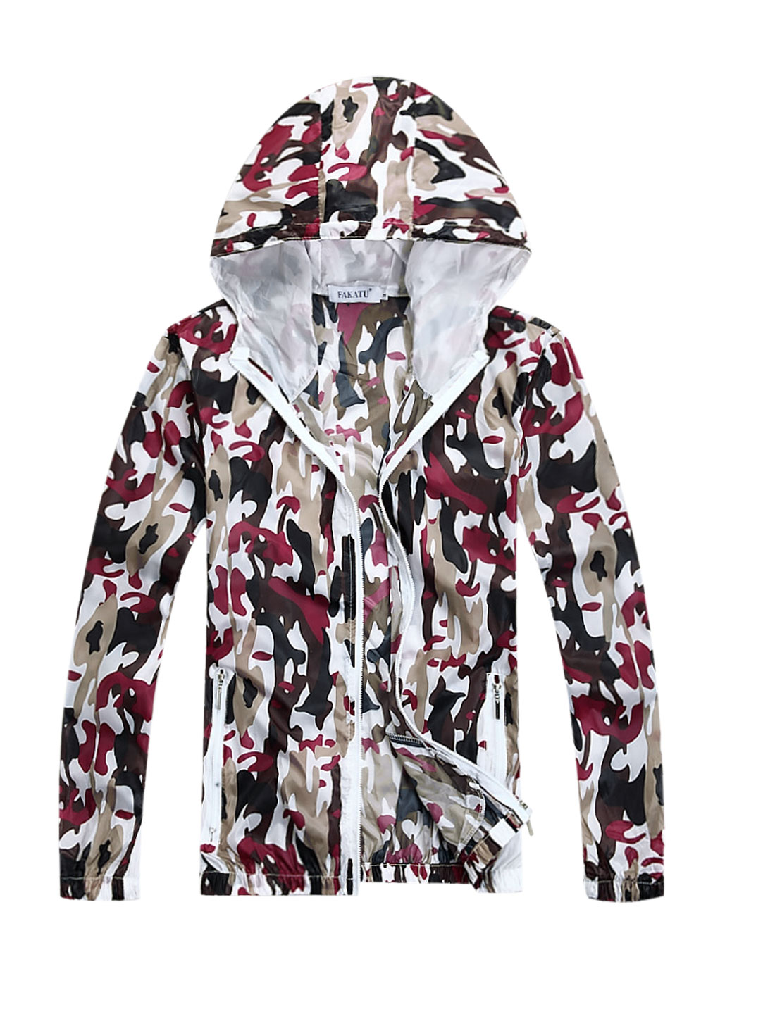 Men Drawstring Hooded Camouflage Prints Thin Jacket Fuchsia M