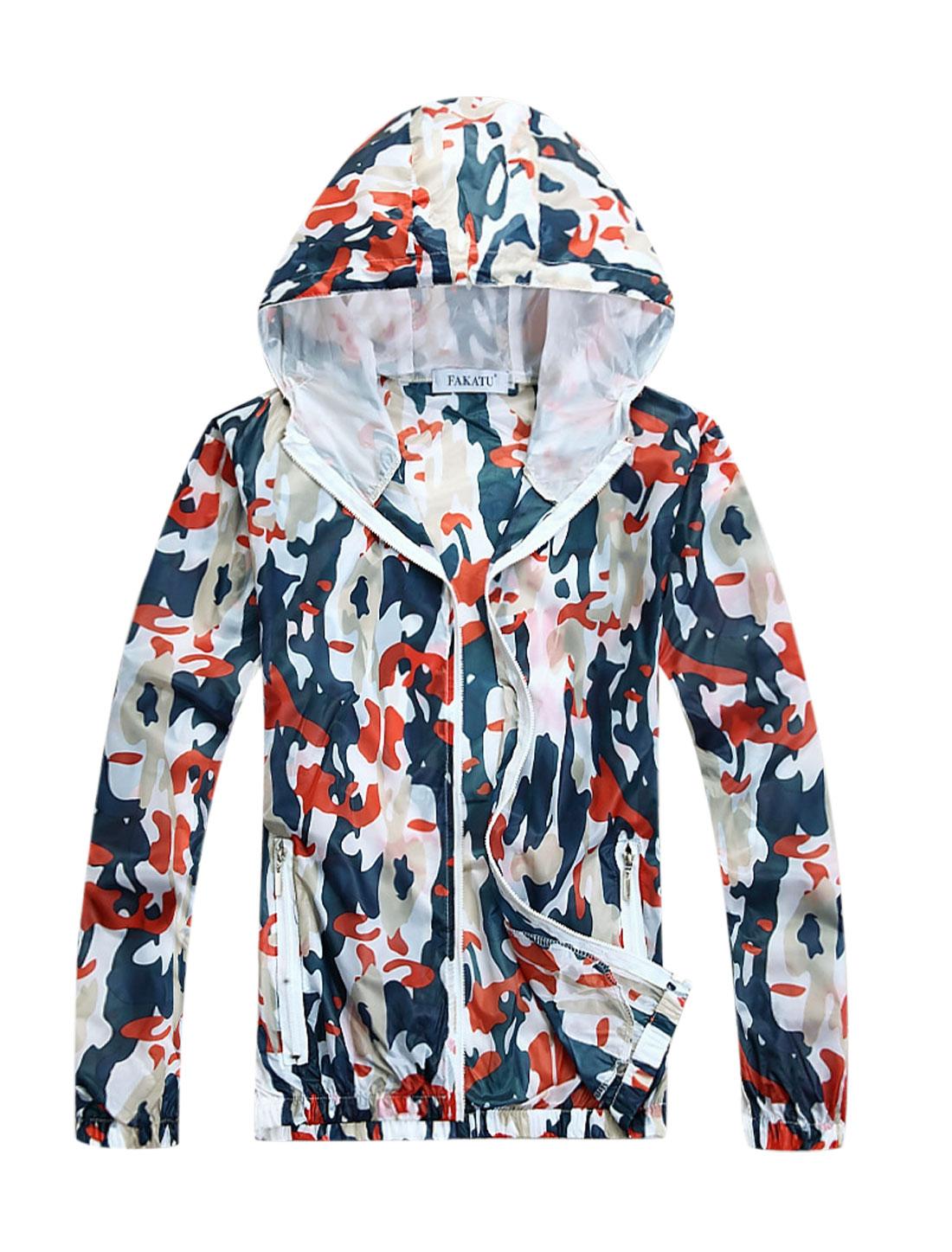 Men Zip Fly Camouflage Prints Thin Jacket Orange M