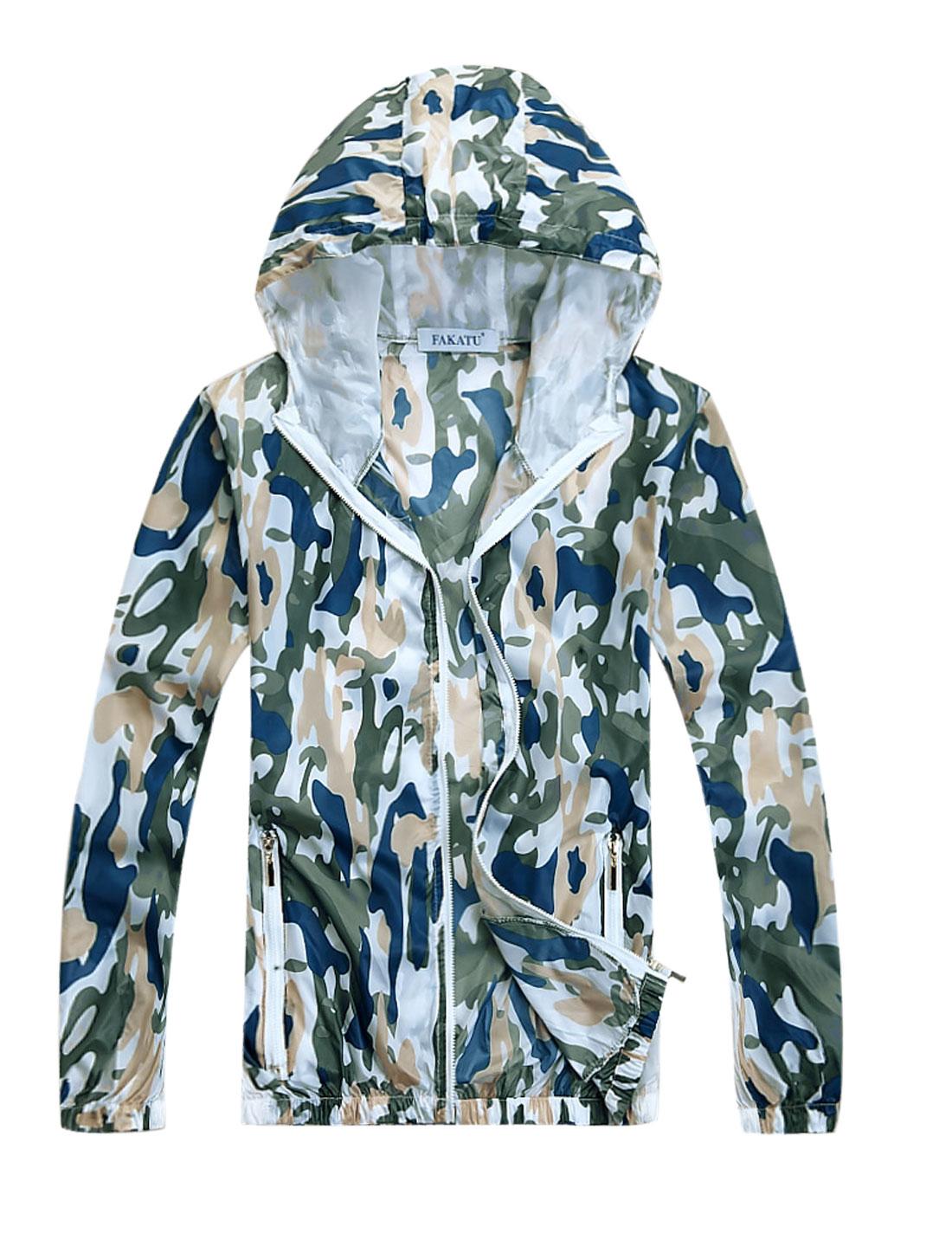 Men Panel Design Camouflage Prints Thin Jacket Blue M