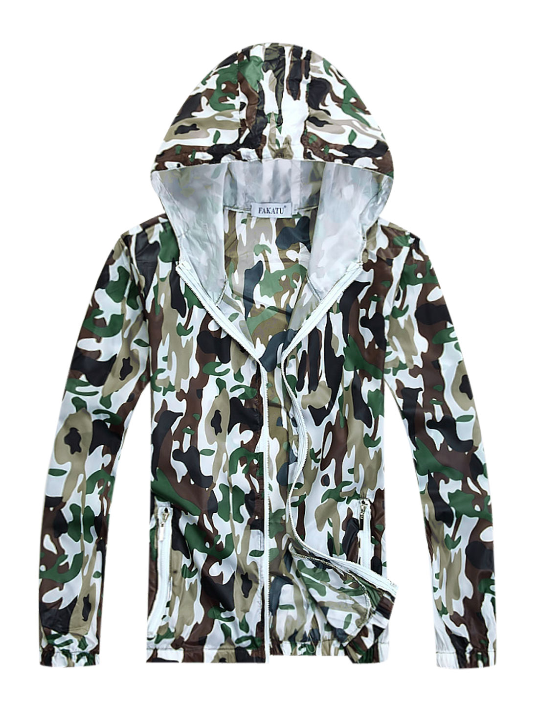 Men Stretchy Cuffs w Hem Camouflage Prints Thin Jacket Army Green M