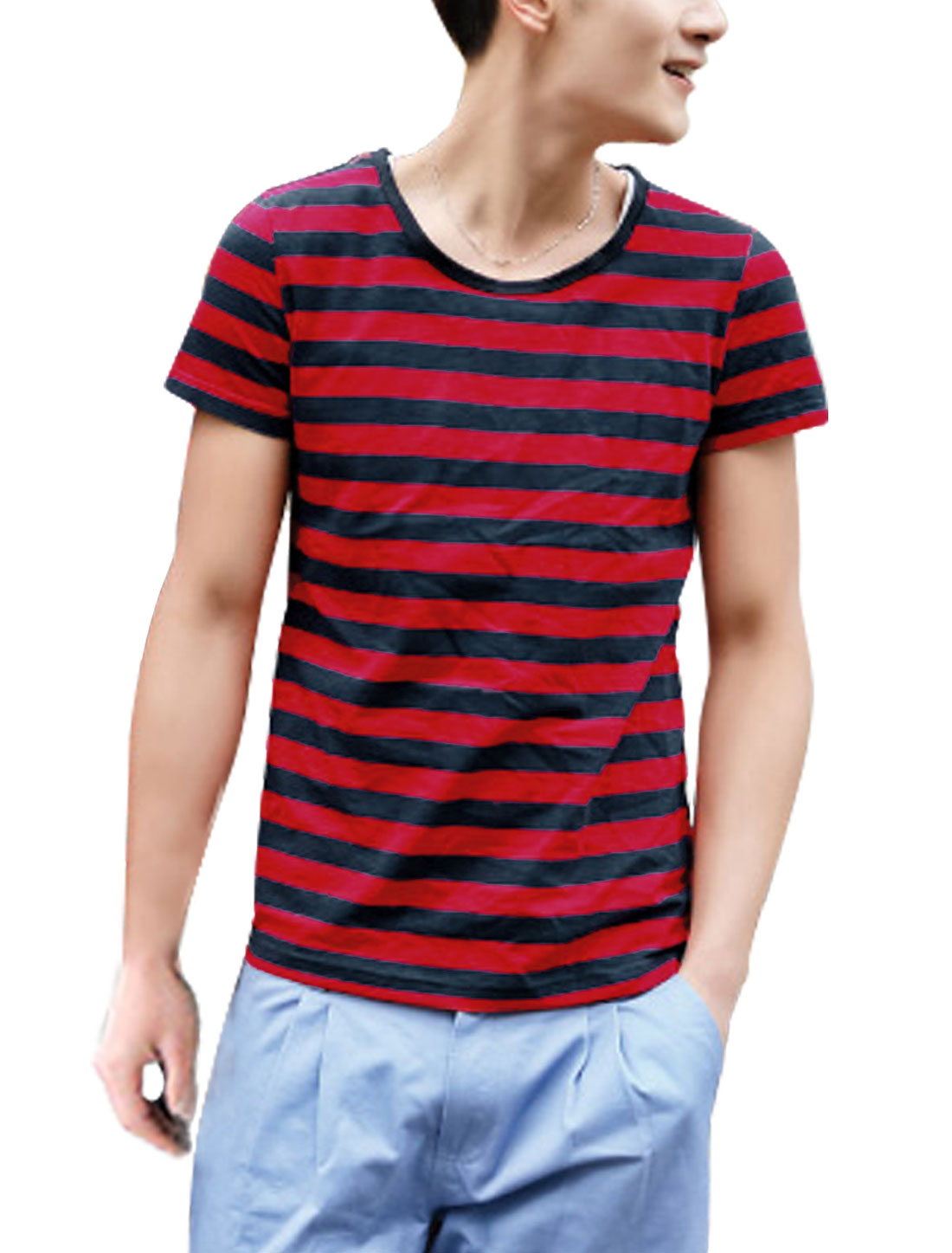 Man Round Neck Short Sleeve Bar Striped Tee Shirt Red Black M