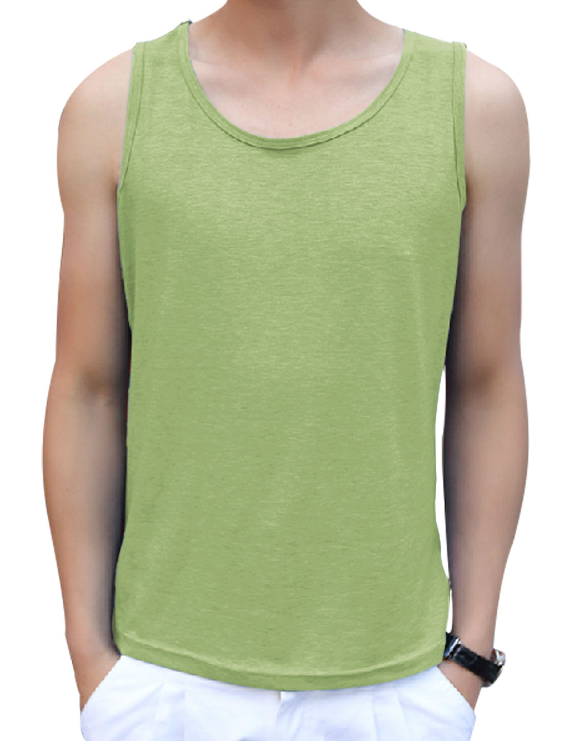 Men's Sleeveless Pullover Summer Fit Casual Top Pea Green M