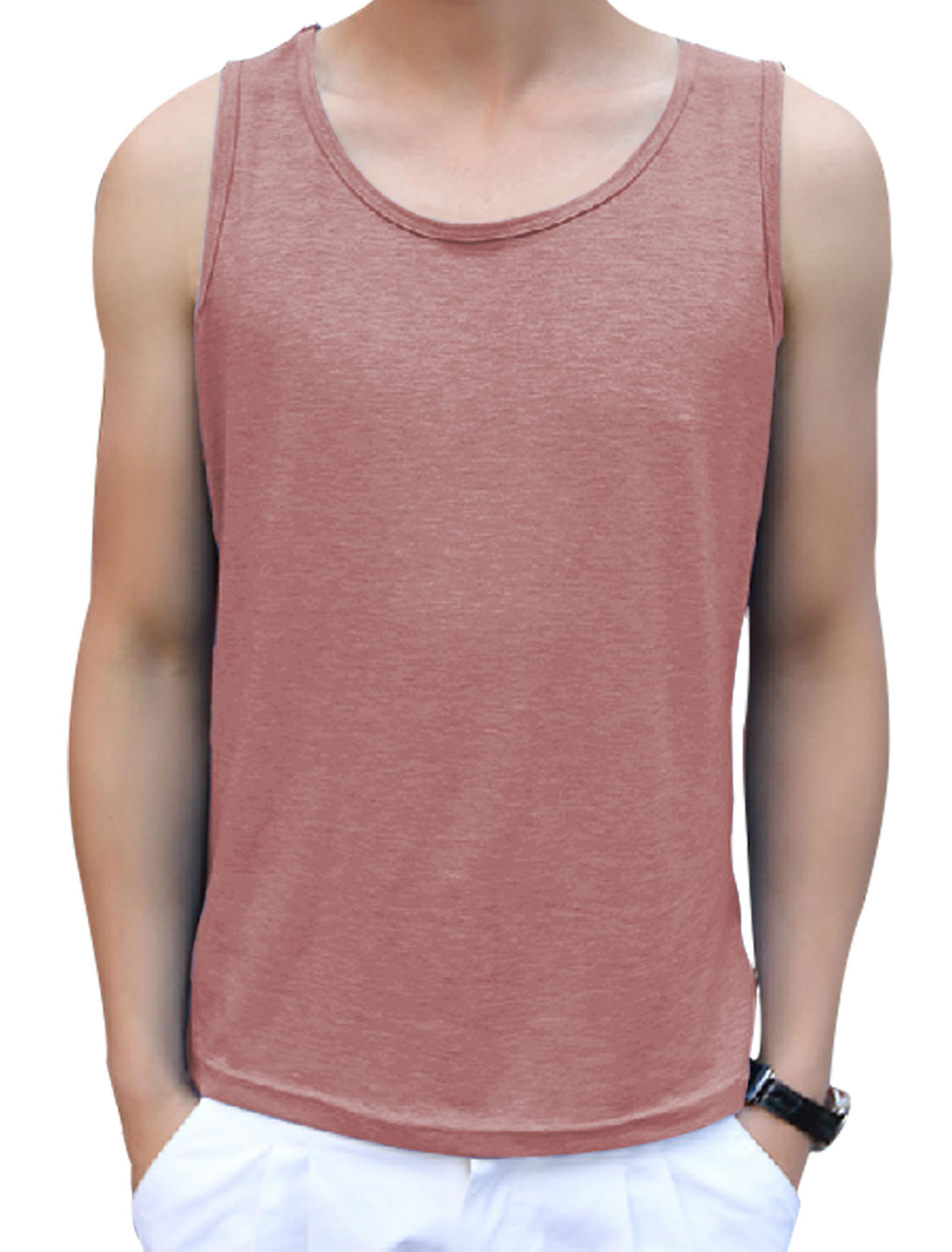 Round Neck Sleeveless Casual Tank Top for Man Plum Pink M