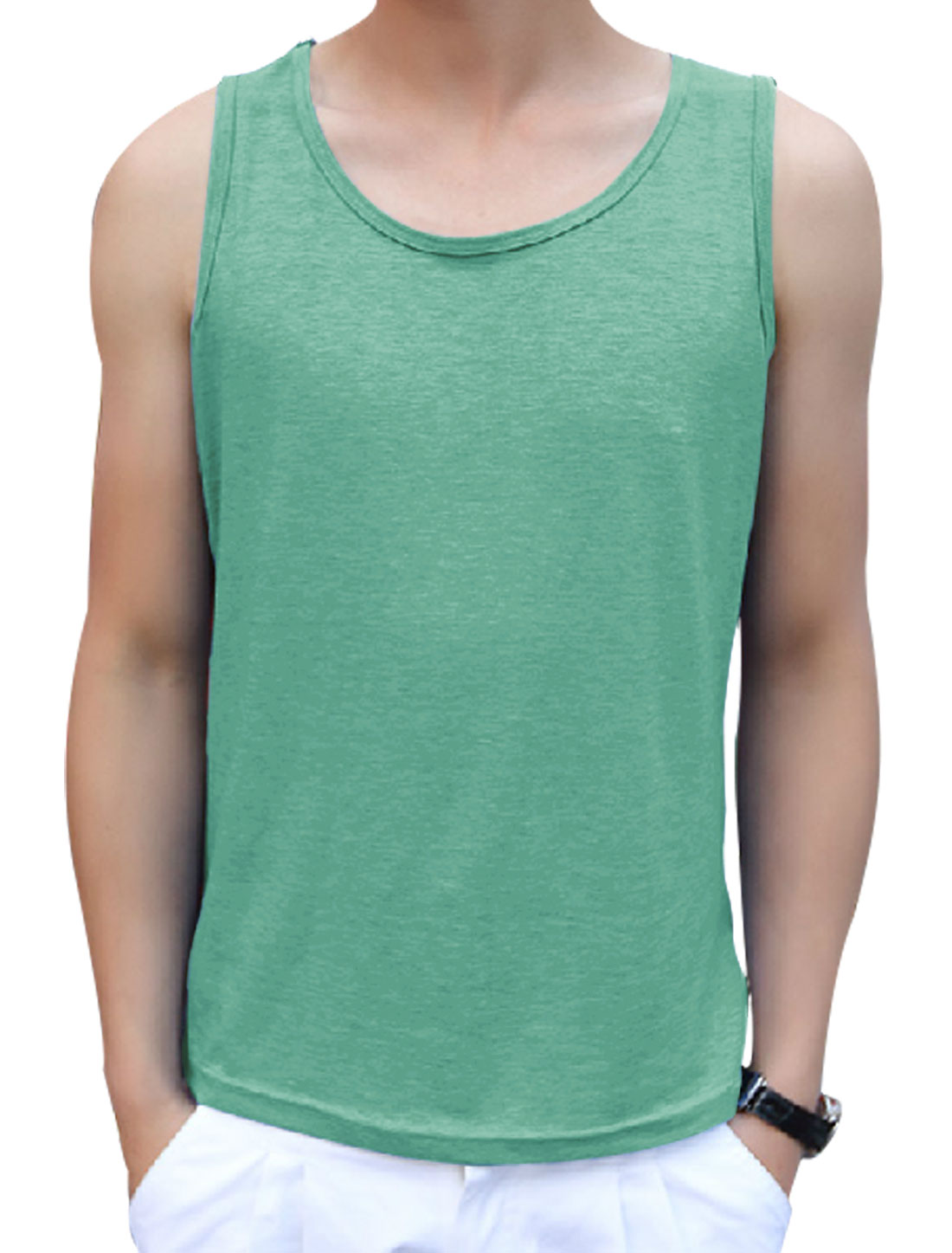 Men's Round Neck Sleeveless Casual Top Green M