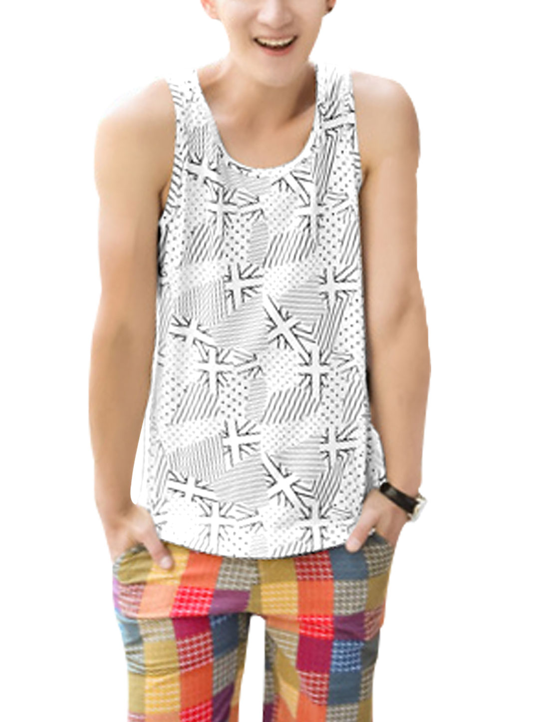 Men Sleeveless Union Jack Print Pullover Summer Fit Tank Top White M