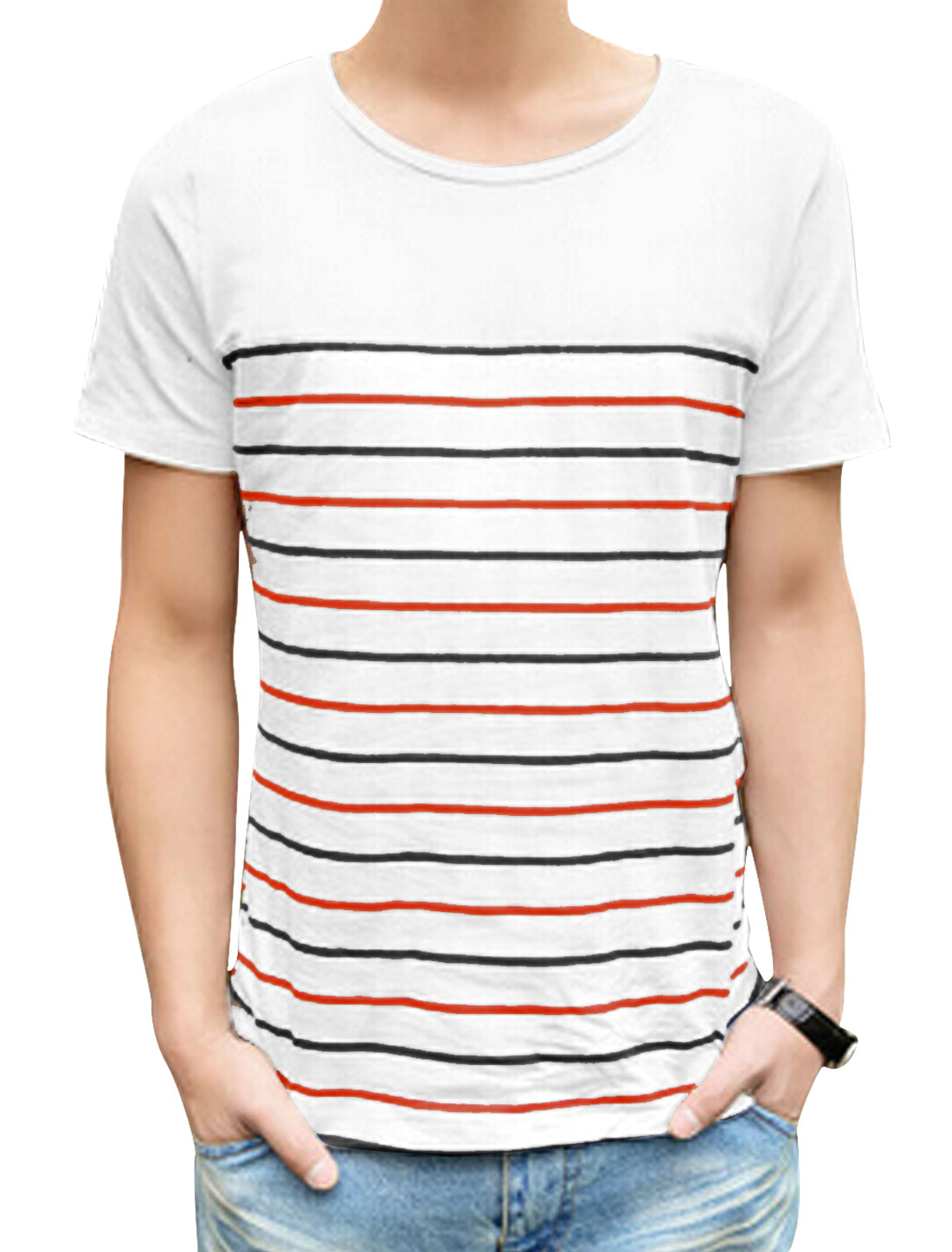 Men Round Neck Short Sleeve Stripe Print Casual T Shirt Black Red M
