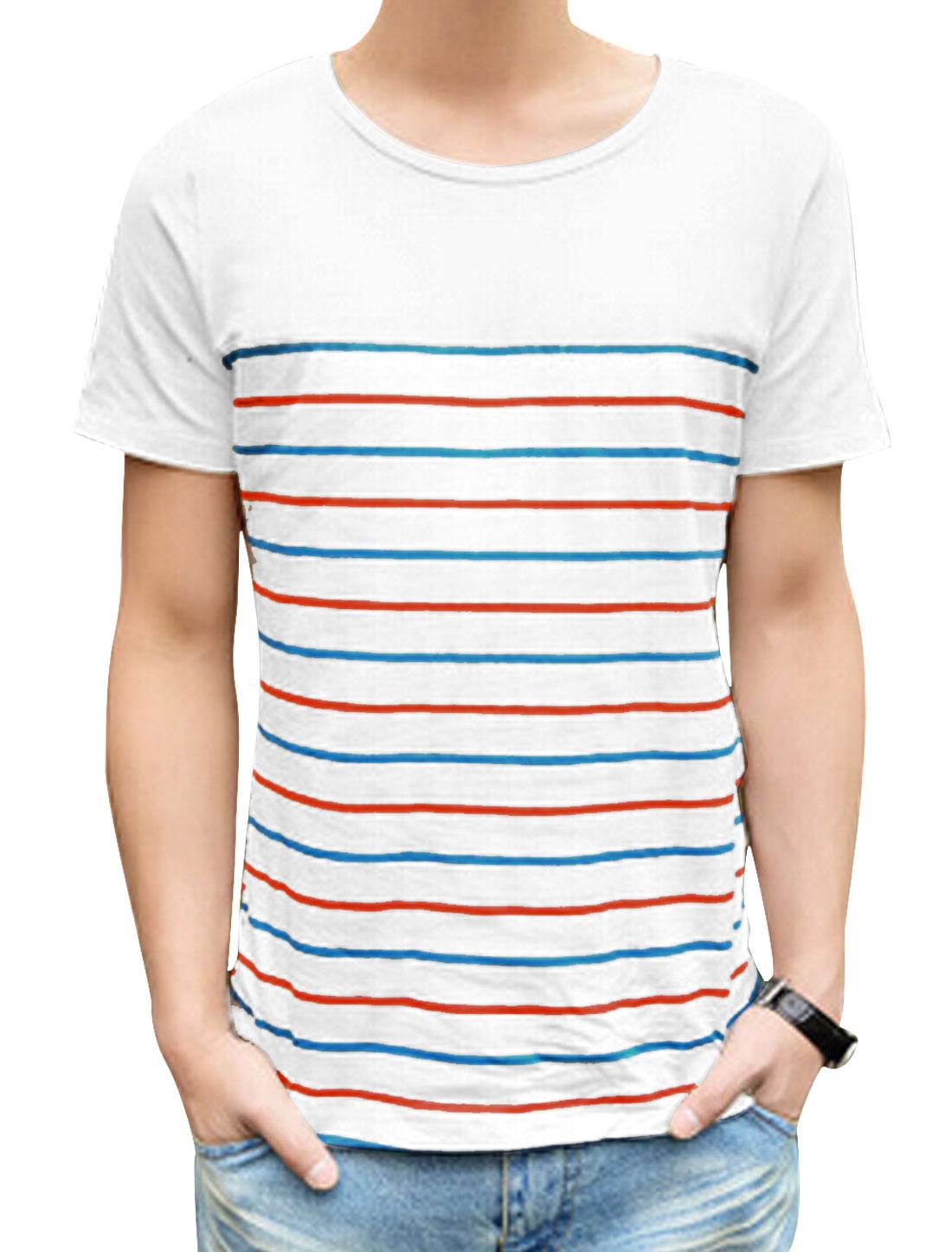 Man's Short Sleeve Bar Striped Summer Fit Tee Shirt Red Blue M