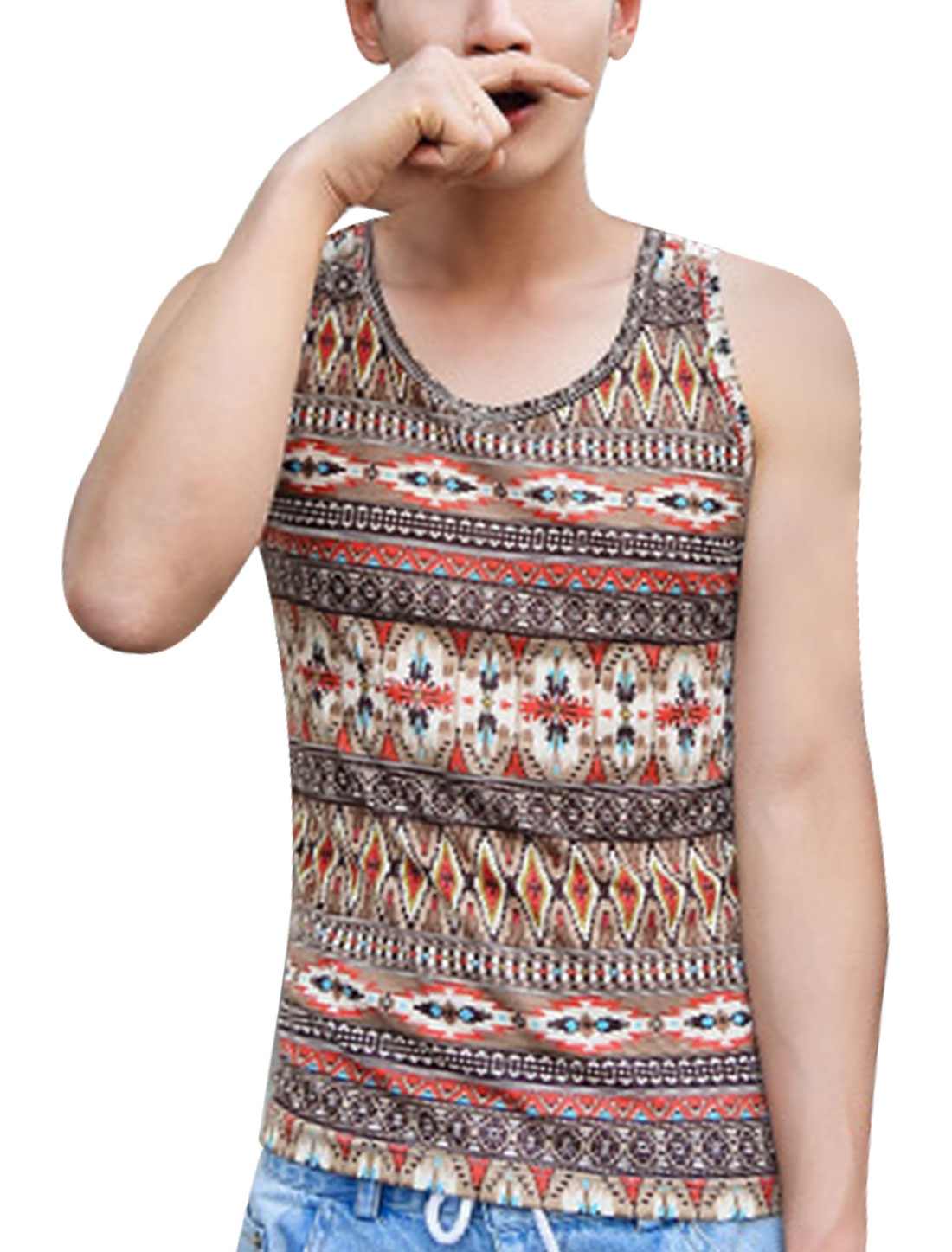 Man's Round Neck Sleeveless Geometric Prints Tank Top Brown M