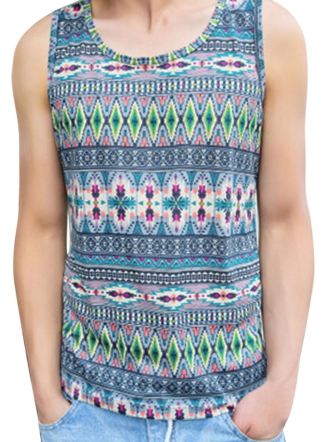 Round Neck Sleeveless Geometric Pattern Blue M Tank Top for Man