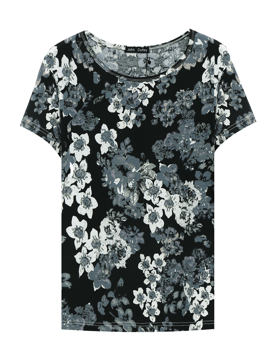 Man Short Sleeve Round Neck Flower Pattern Tee Shirt Black Blue M