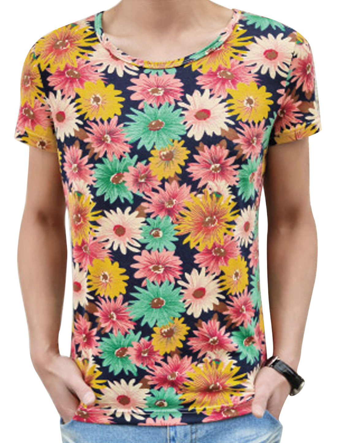 Men's Short Sleeve Floral Print Casual T Shirt Multicolor M