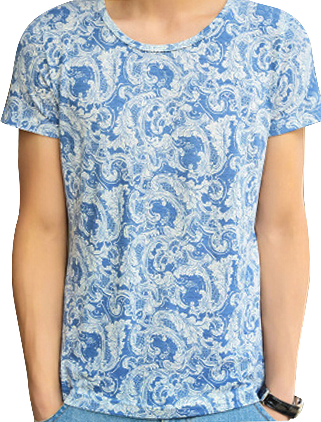 Round Neck Short Sleeve Novelty Prints Blue M Tee Shirt for Man