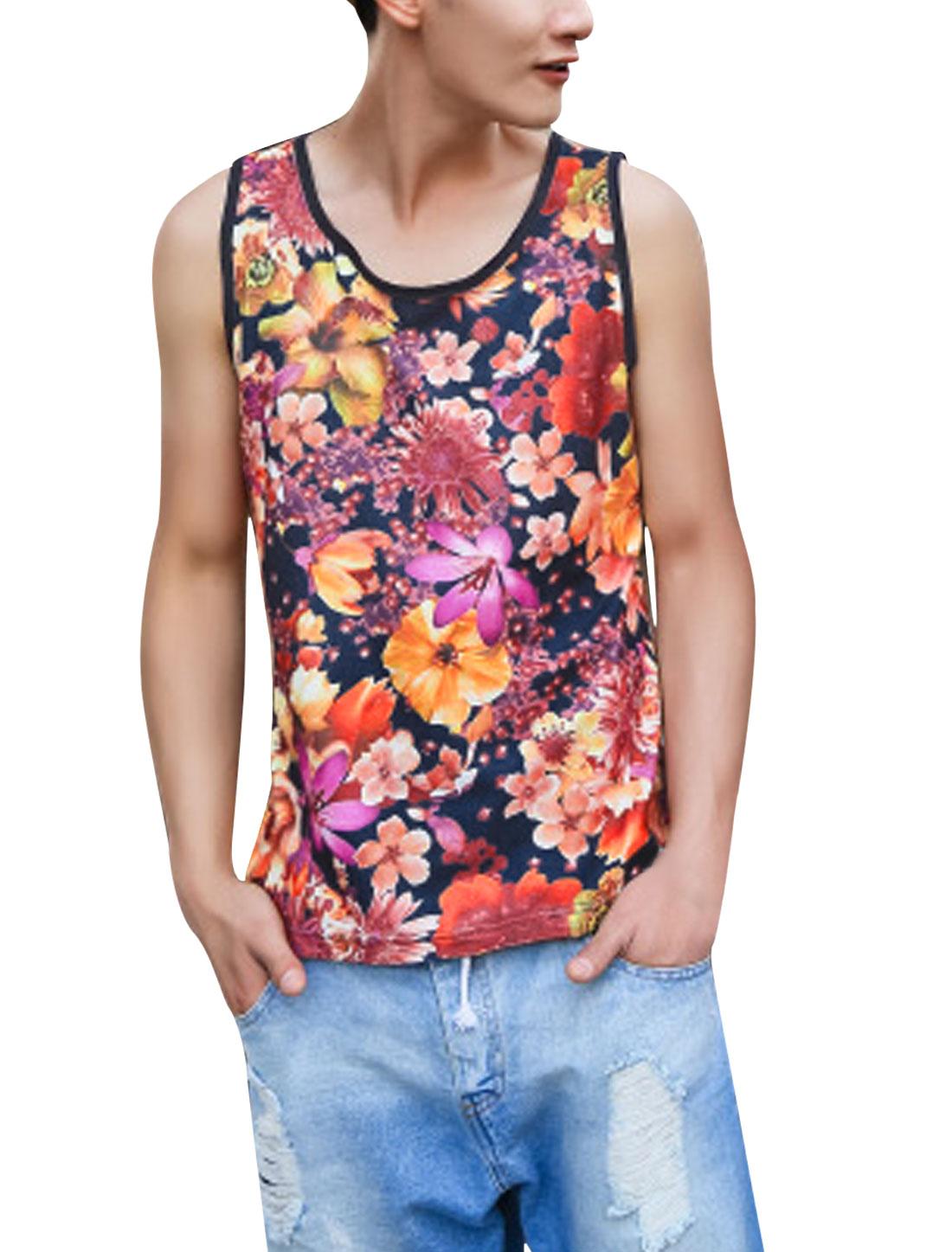 Men's Sleeveless Flower Pattern Summer Fit Tank Top Multicolor M