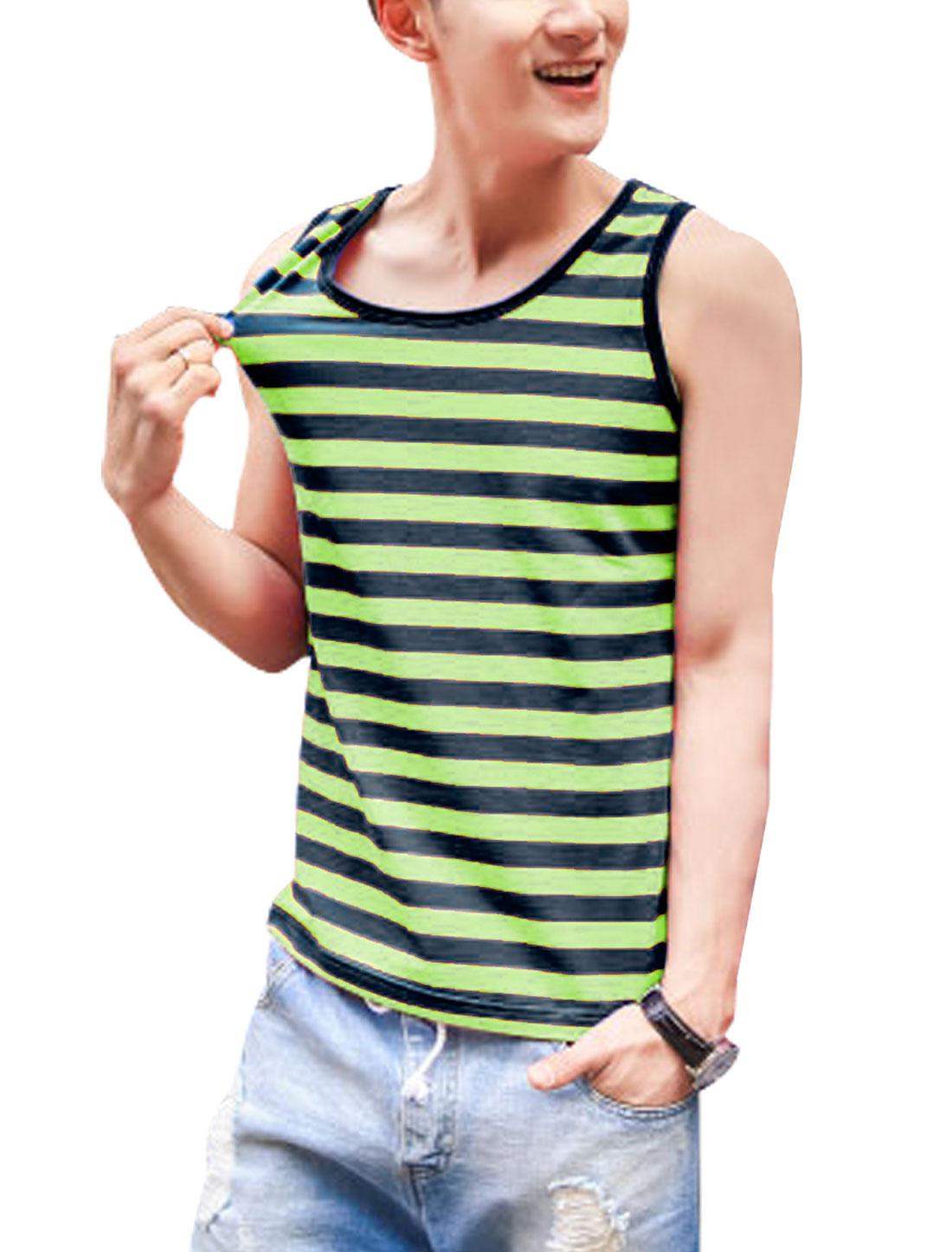 Man Sleeveless Bar Striped Round Neck Pullover Tank Top Green Black M