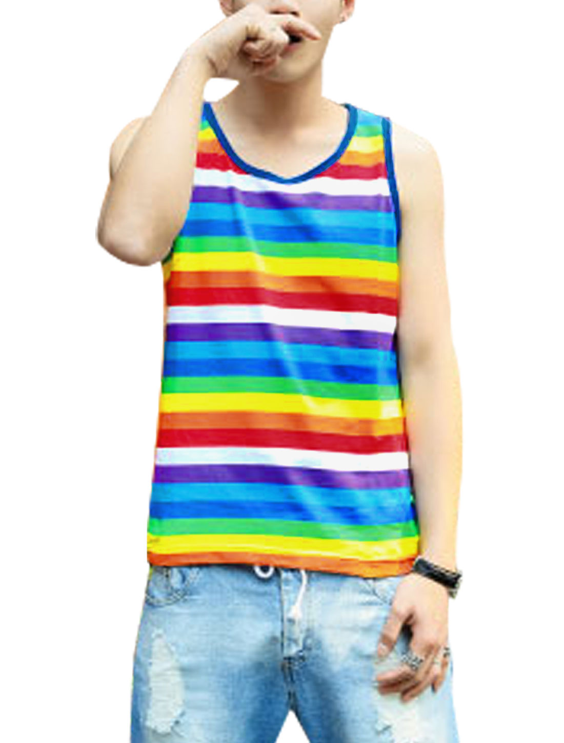 Men's Round Neck Sleeveless Stripe Print Summer Fit Tank Top Multicolor M