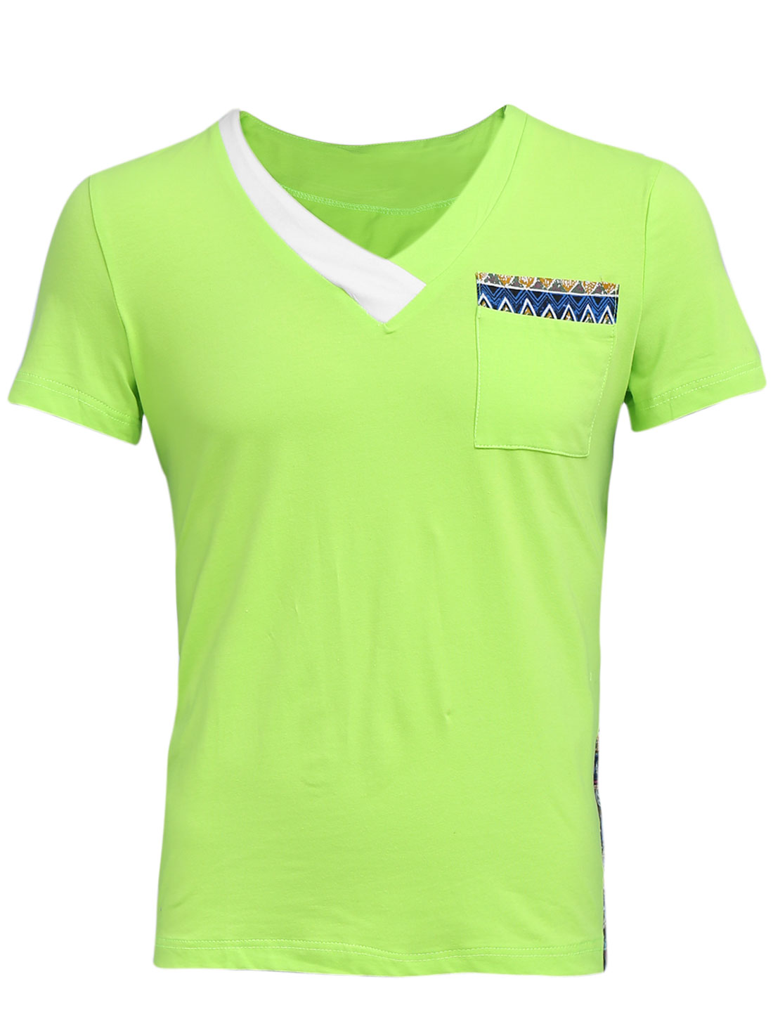 Men Cross V Neck Pullover Panel Slim Fit Tee Shirt Lime Green M