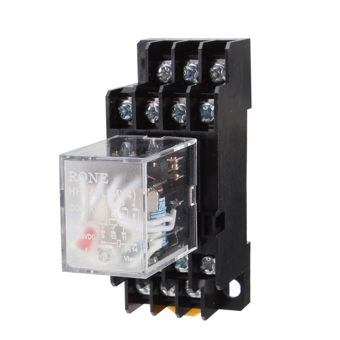 10Pcs HH54PL AC24V Coil Red Light 4PDT 4NO 4NC 14 Pins Pluggable Type 35mm DIN Rail Mounting Power Relay w Socket