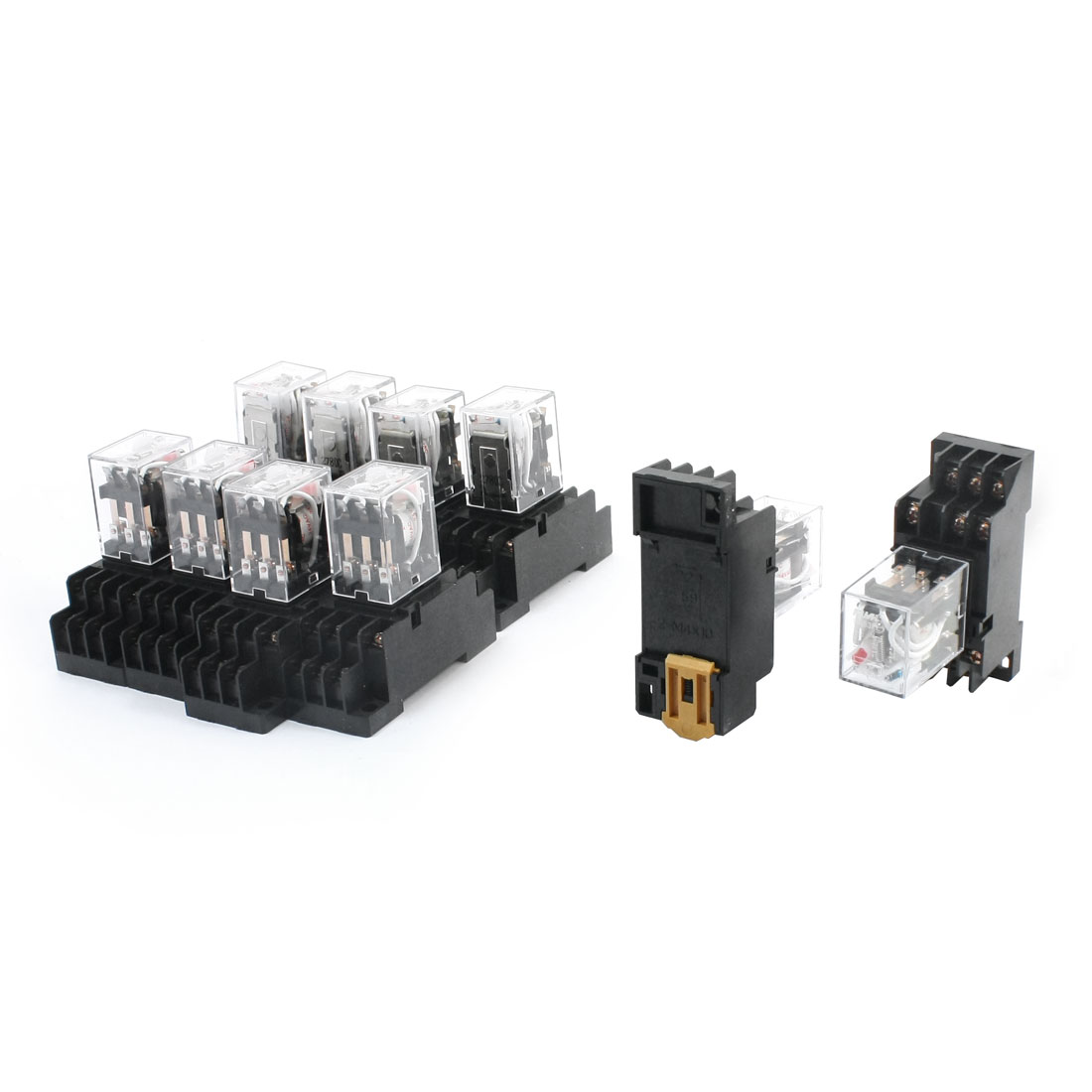 10Pcs HH53PL AC24V Coil Red Light 3PDT 3NO 3NC 11 Pins Pluggable Type 35mm DIN Rail Mounting General Purpose Power Relay w Socket Base