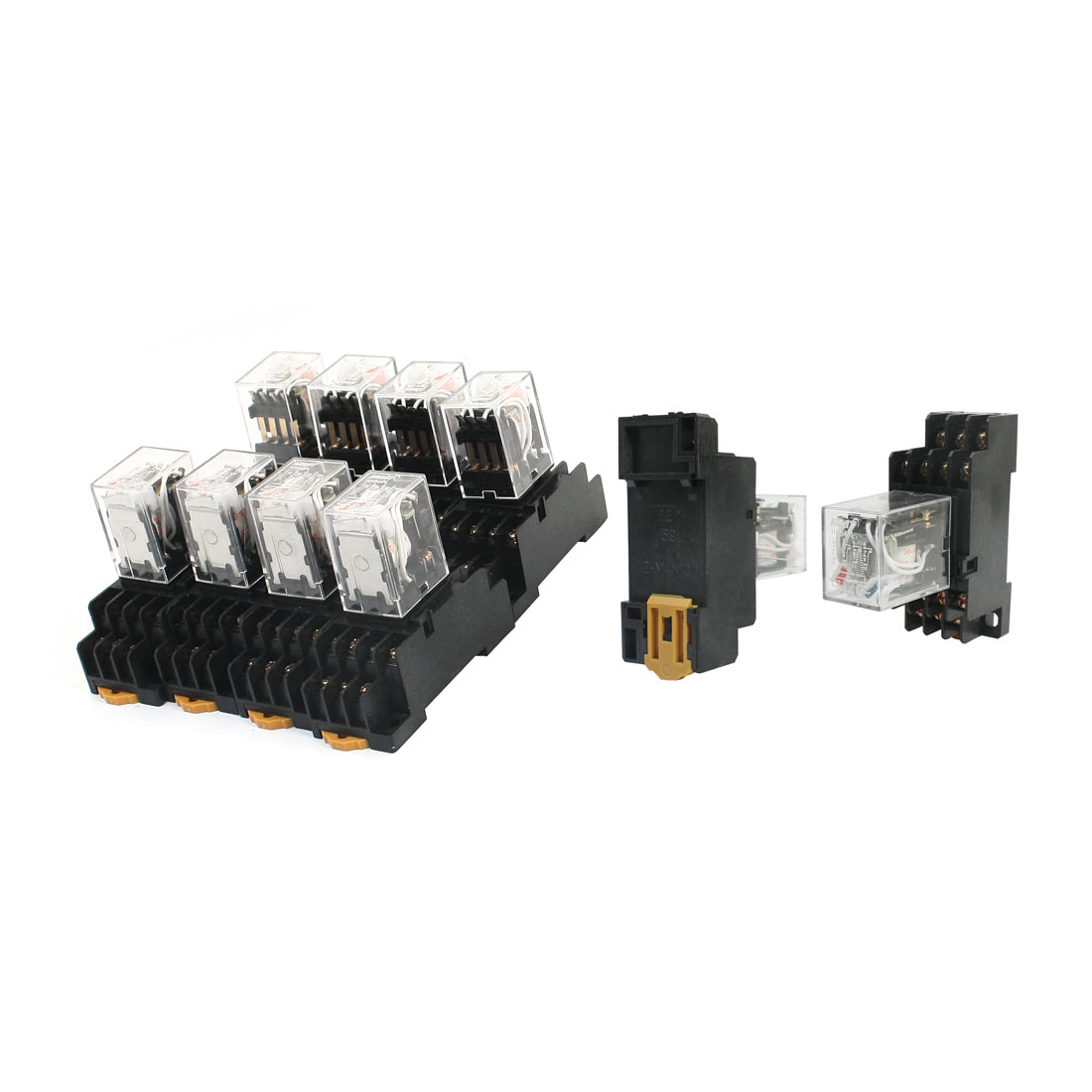 10 Pcs AC 36V Coil Voltage Red Light 4PDT 14Pin 4NO 4NC 35mm DIN Rail Mount General Purpose Power Relay w Socket Base