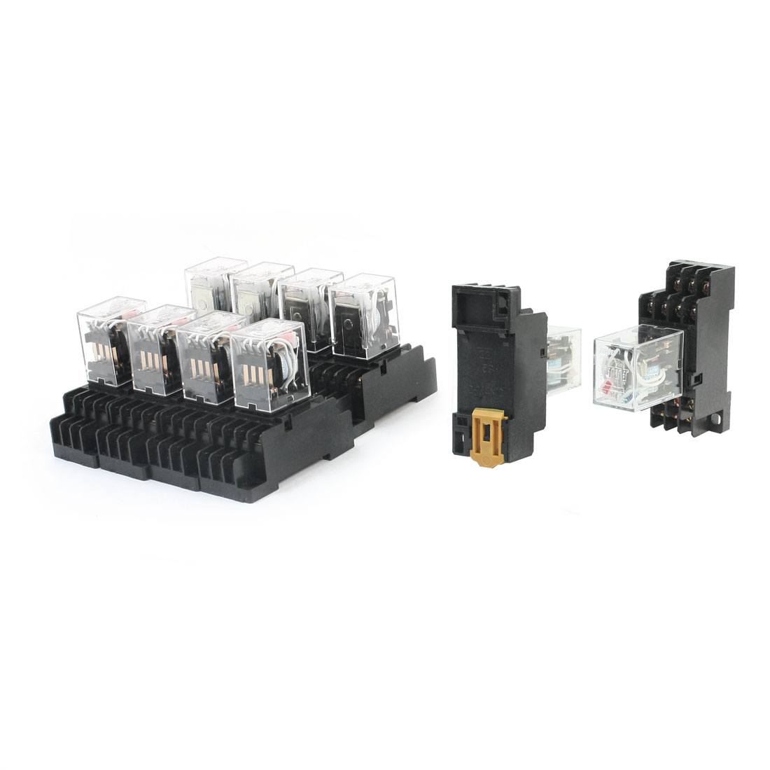 10Pcs HH54PL AC 110V Coil Voltage 35mm DIN Rail Mounting 4PDT 4NO 4NC Pluggable in Type Power Relay HH54PL w w Socket Base