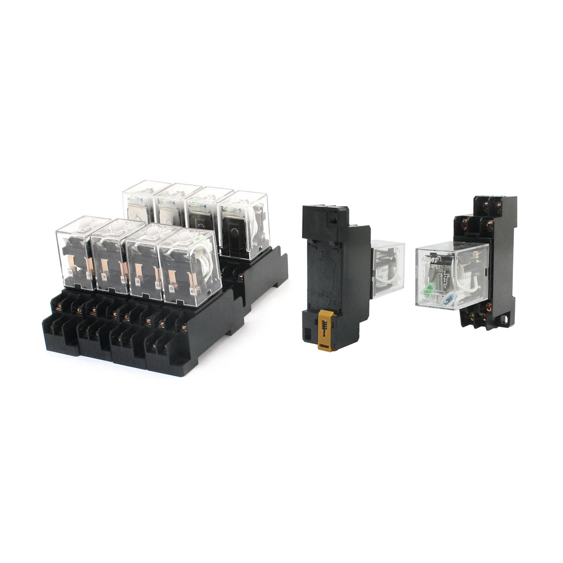 10Pcs DC 220V Coil Green Indicator Light 35mm DIN Rail Mount DPDT 2NO 2NC Plug-in Socket General Purpose Electromagnetic Power Relay HH52PL