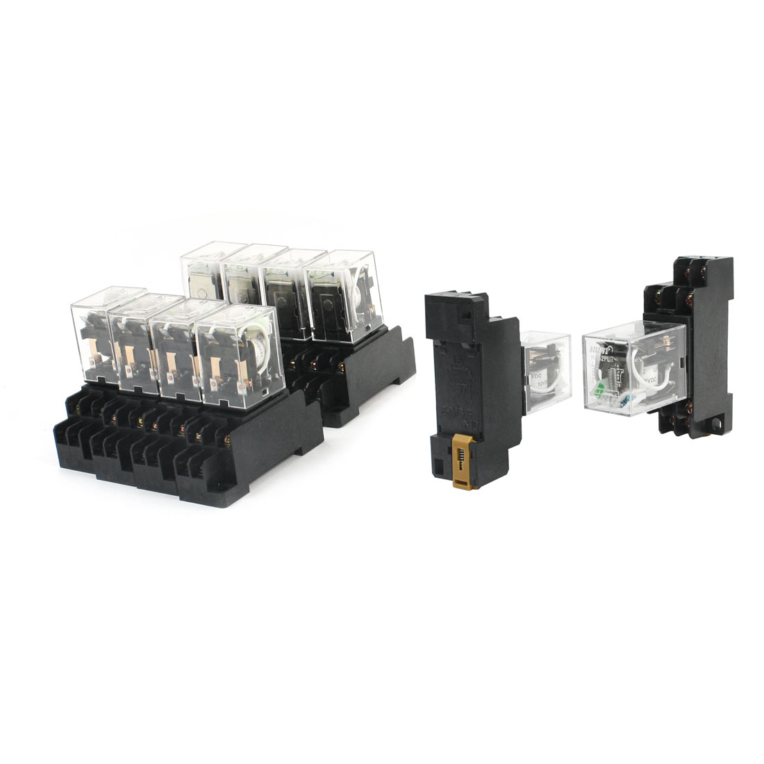 10Pcs DC 12V 35mm 35mm DIN Rail Mounting Socket DPDT 2NO 2NC 8 Pins Terminal Plug-in General Purpose Coil Power Relay