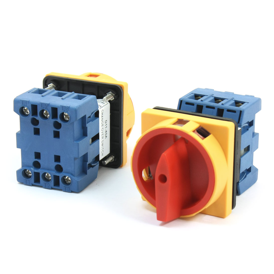 2 Pcs 660V 40A 6 Screw Terminal 2 Positions 3-Pole Square Panel Mounting Universal Rotary Cam Changeover Switch