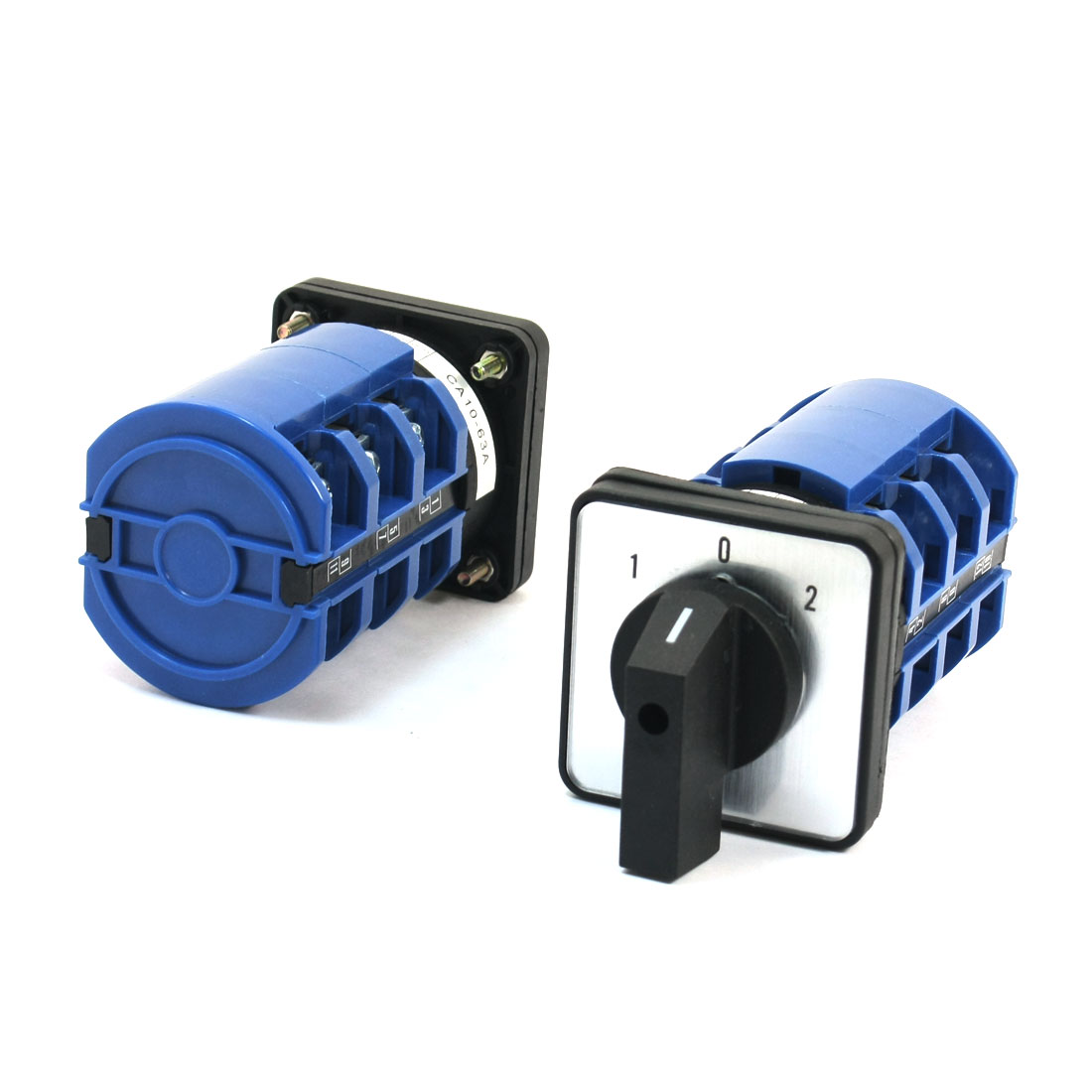 2Pcs CA10-63 Ui 660V Ith 63A 12 Screw Terminal 3-Pole 3Position Square Plastic Panel Mounting Rotary Cam Changeover Switch