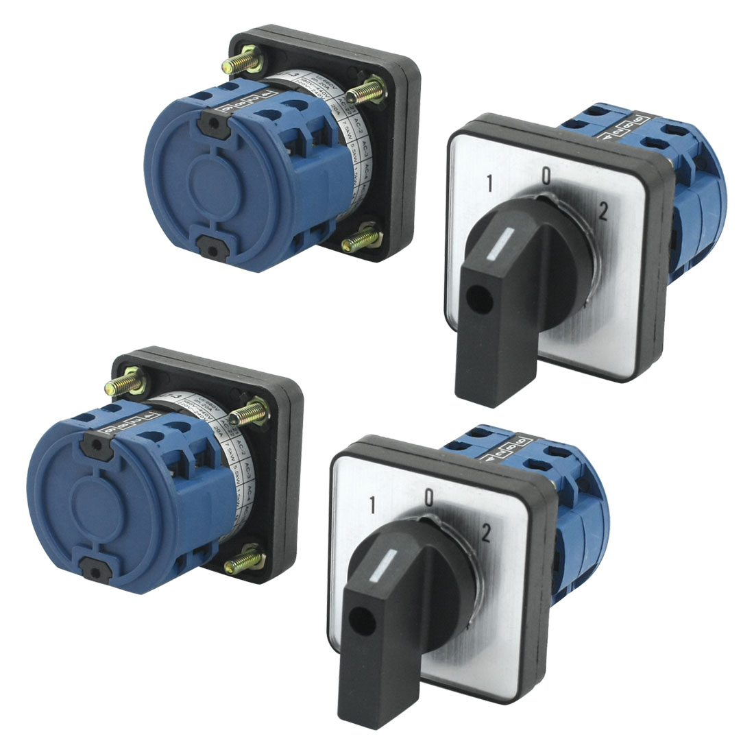 4Pcs CA10-20/2 Ui 660V Ith 20A 8 Screw Terminal 3-Position 2-Pole Square Panel Mounting Rotary Cam Changeover Switch