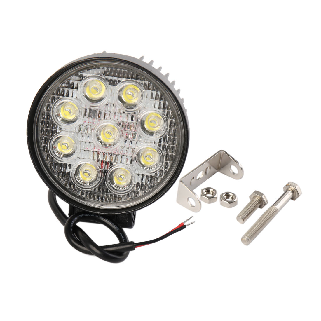 Round Shaped Black Metal Housing Car White 9 LED Bulb Spotlight Working Lamp Light 12V 27W