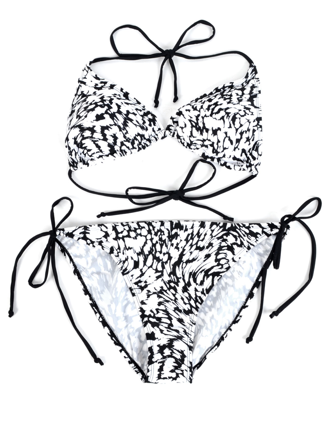 Ladies String Bikini Bottom + Novelty Pattern Bra Fancy Swimsuit Black White L